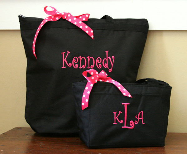 Black with Hot Pink Curly Font with Matching Lunchbag