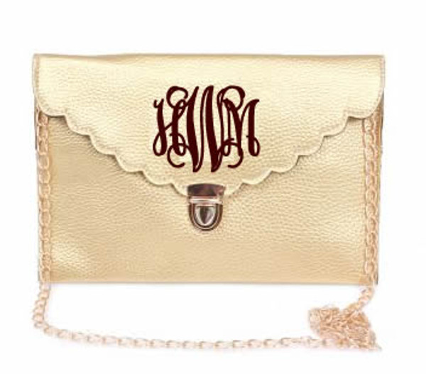 Monogrammed Scallop Envelope Latch Clutch Cross Body Purse  www.tinytulip.com Gold with Interlocking Dark Chocolate Brown Font