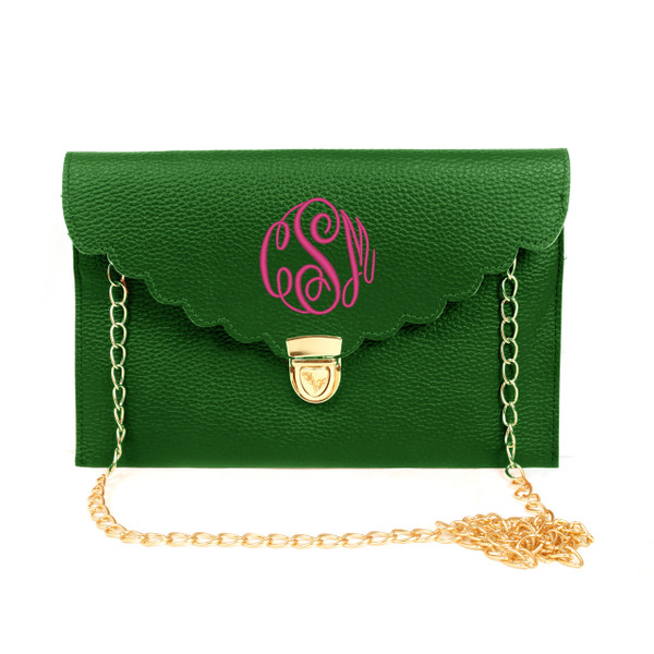 Monogrammed Scallop Envelope Latch Clutch Cross Body Purse  www.tinytulip.com Green with Master Script Hot Pink Font