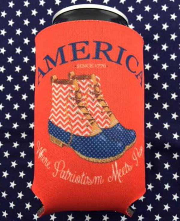 America Duck Boots Koozie www.tinytulip.com