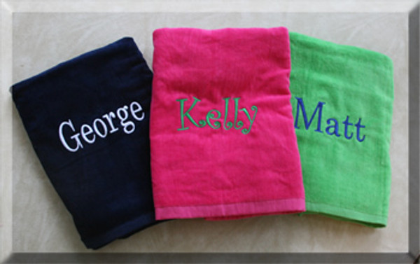 Navy with WHite Romana Font, Hot Pink with Curly Green Font, Lime Green Towel with Royal Blue Font