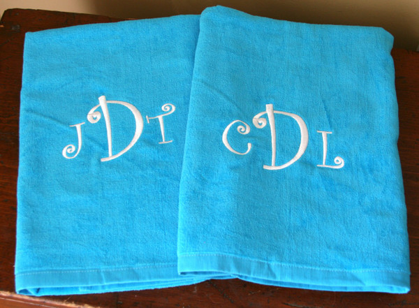 Turquoise Towel with White Curly Monogram