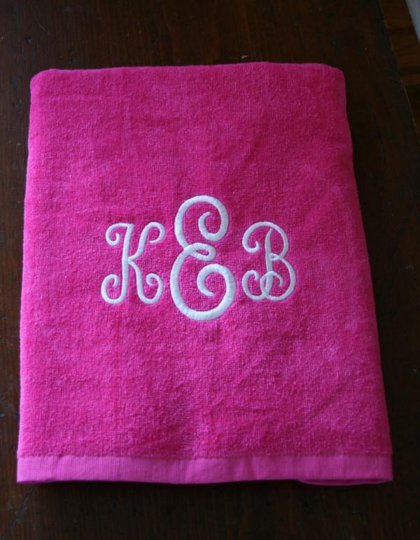 Hot Pink Towel with White Swirly Monogram