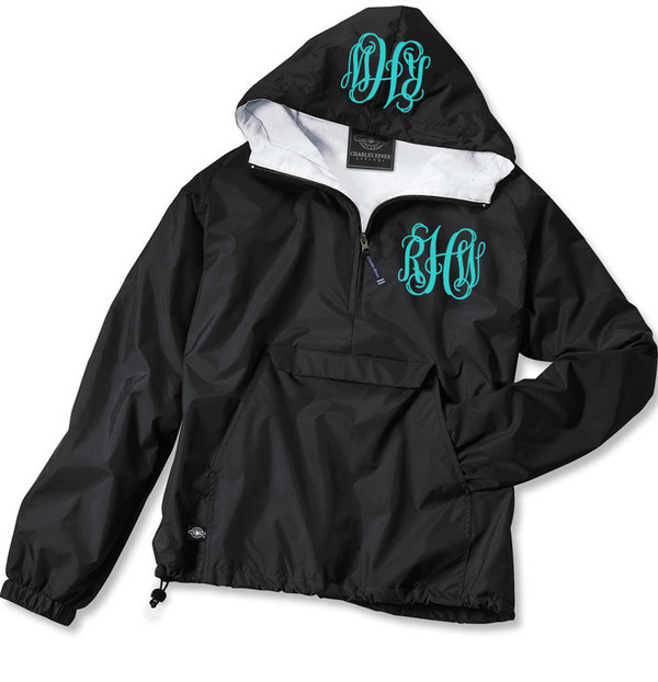 Double Monogrammed Pullover Wind Jacket  www.tinytulip.com Turquoise Interlocking Font