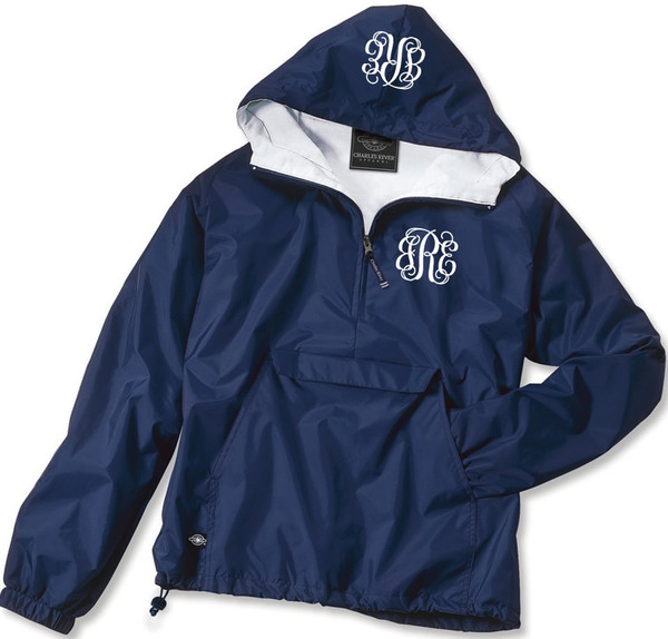 Double Monogrammed Pullover Wind Jacket  www.tinytulip.com White Interlocking Font