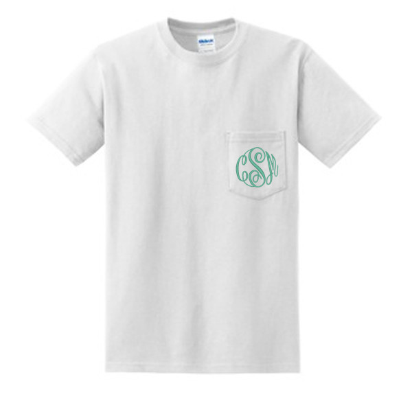 White with Mint Master Script Short Sleeve Monogrammed Pocket T Shirt www.tinytulip.com