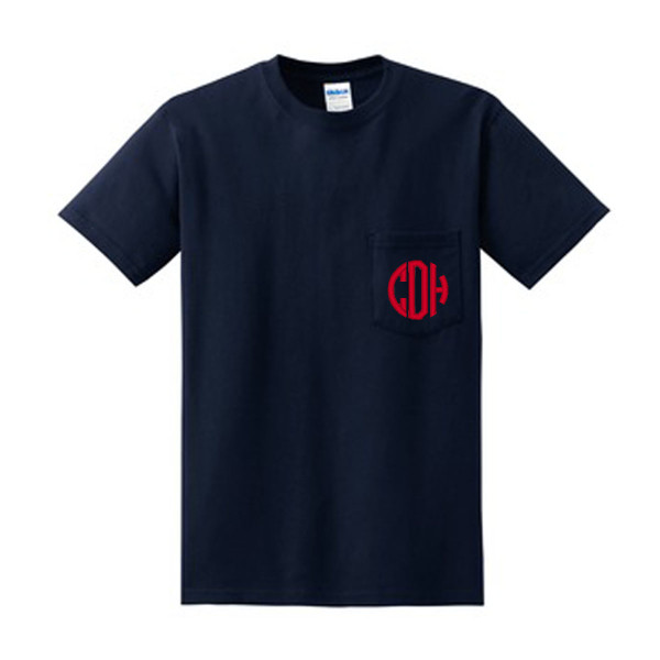 Navy with Red Circle Font Short Sleeve Monogrammed Pocket T Shirt www.tinytulip.com