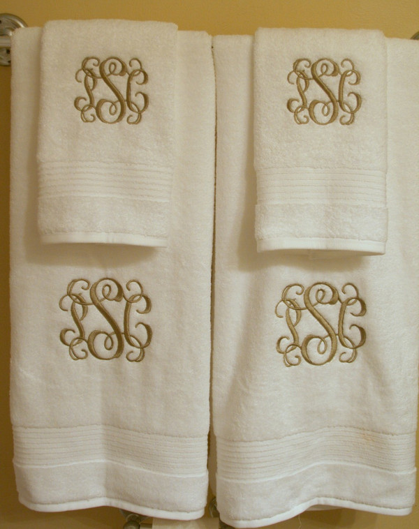 Monogrammed Towel Set   www.tinytulip.com Interlocking Khaki Font