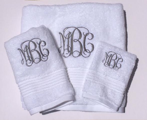 Monogrammed Towel Set   www.tinytulip.com Interlocking Charcoal Gray Font