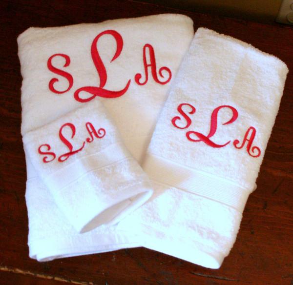 Monogrammed Towel Set   www.tinytulip.com  Hot Pink French Script Monogram