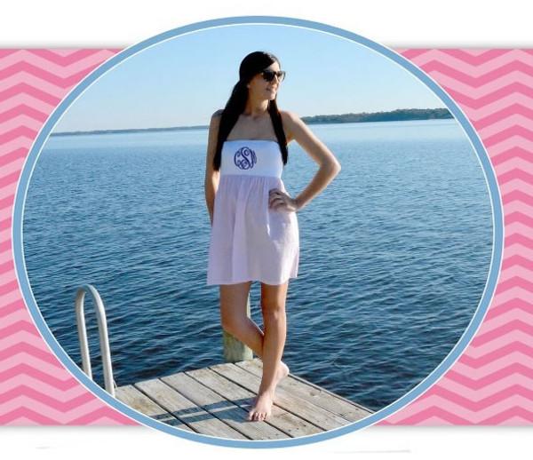 Monogrammed Pink Strapless Seersucker Swim Cover Up Dress www.tinytulip.com