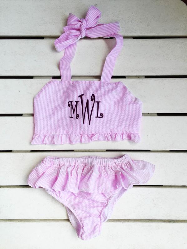 Monogrammed Pink Girls Seersucker Two Piece Swim Bathing Suit  www.tinytulip.com