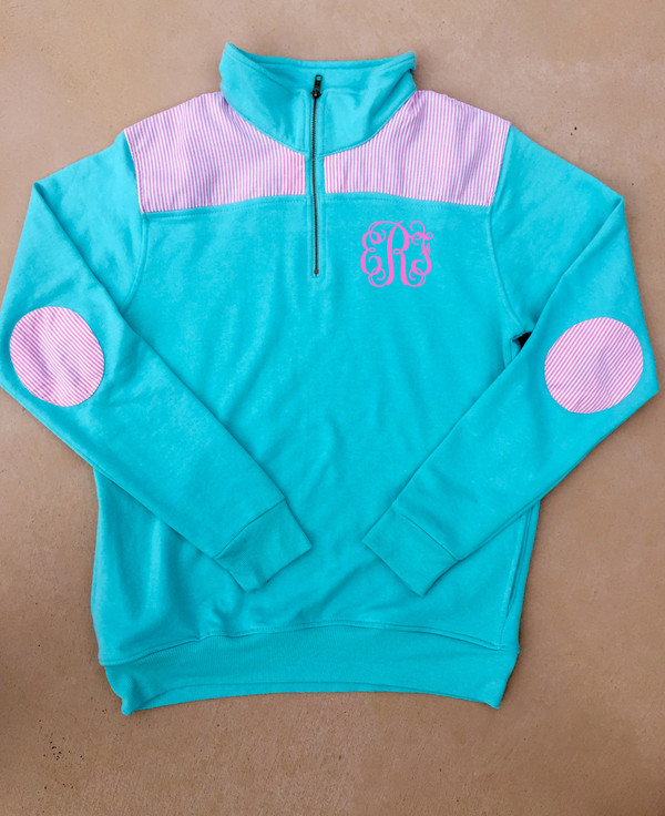 Monogrammed Mint Pullover with Seersucker Elbow Patches www.tinytulip.com Preppy Pink Interlocking Font