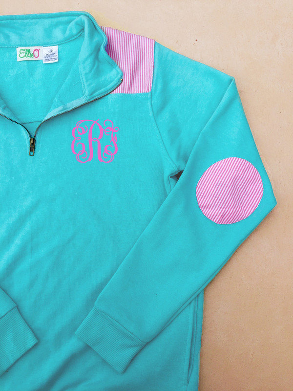 Monogrammed Youth Mint Pullover with Seersucker Elbow Patches www.tinytulip.com Preppy Pink Interlocking Font