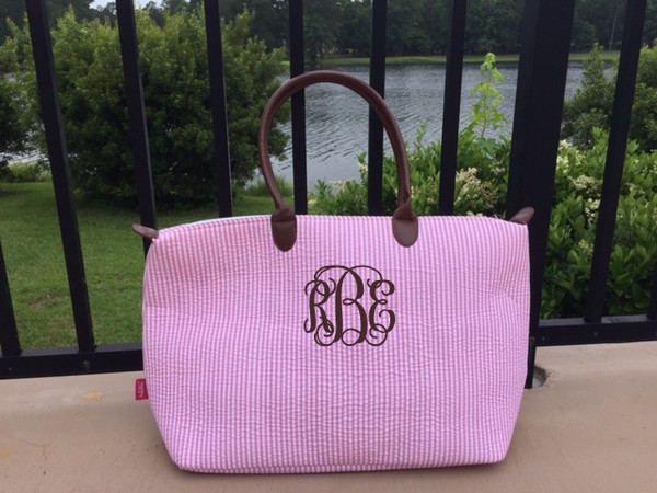 Monogrammed Seersucker Travel Tote www.tinytulip.com Pink Tote with Chocolate Brown Interlocking Font