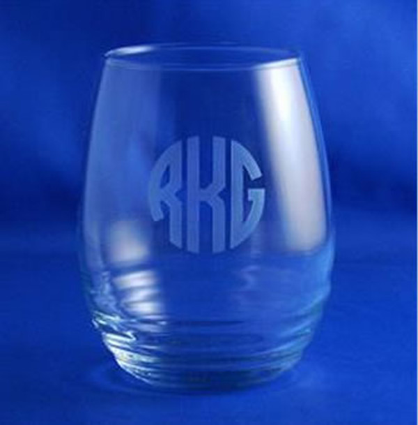 Monogrammed Engraved Ripple Glass Stemless Wine Glass www.tinytulip.com