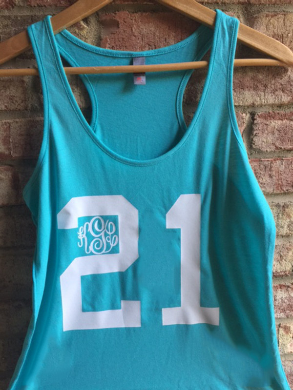 Monogrammed Birthday Racerback Tank www.tinytulip.com  Turquoise Tank with White Font in Master Script