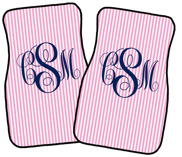 Monogrammed Car Mat Set www.tinytulip.com Light Pink Seersucker with Navy Emma Font  Front Set