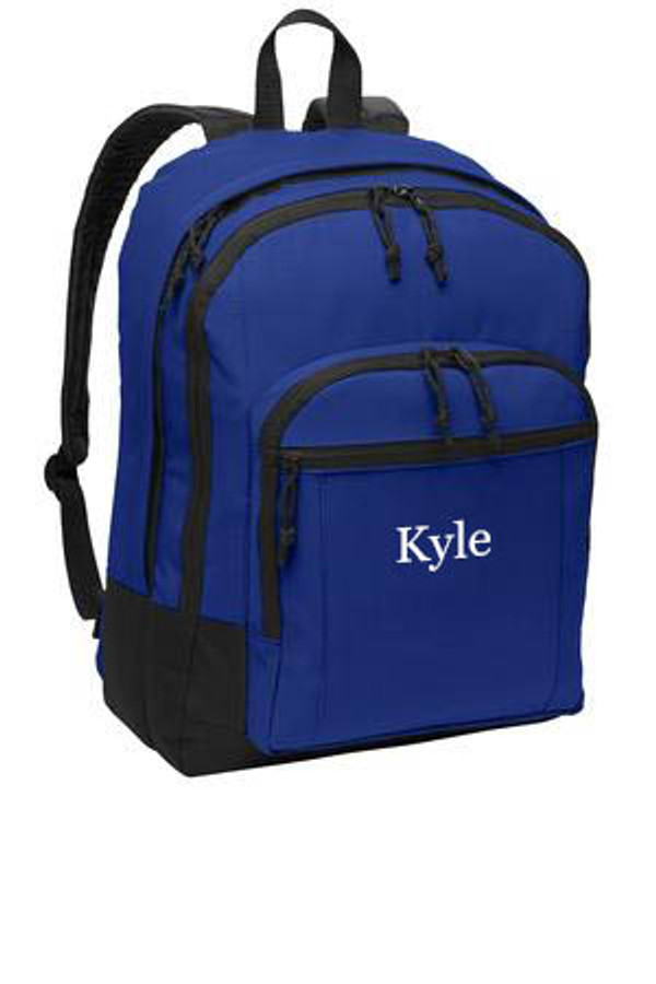 Royal Blue Solid Classic Monogrammed Backpack www.tinytulip.com White Thread Color