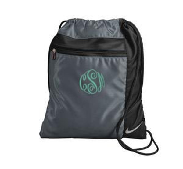 Monogrammed Nike Drawstring Backpack www.tinytulip.com Charcoal Gray with Mint Master Script