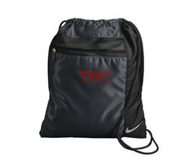 Monogrammed Nike Drawstring Backpack www.tinytulip.com Black with Red Mens Style Font