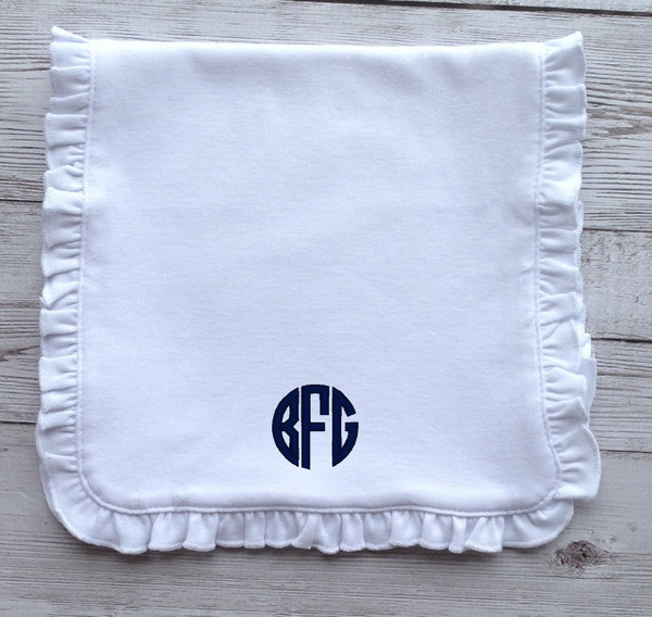 Monogrammed Ruffle Burp Cloth www.tinytulip.com Navy Circle Font