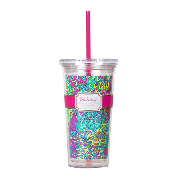 Monogrammed Lilly Pulitzer Acrylic Tumbler with Lilly's Lagoon www.tinytulip.com