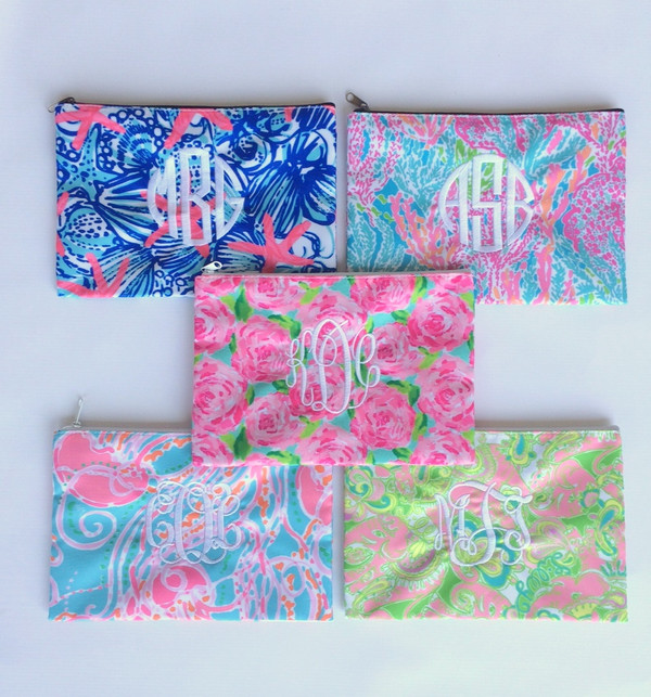 Lilly Pulitzer Monogrammed Pencil Cosmetic Case Sky Blue Heaven