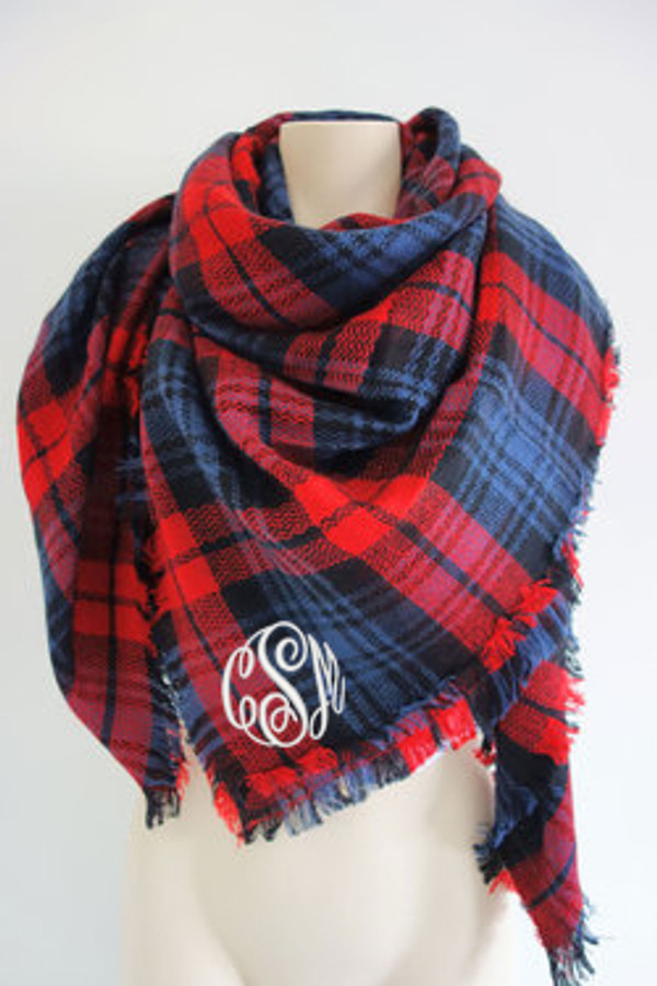 Monogrammed Blanket Scarf www.tinytulip.com Navy and Red Plaid Scarf with White Master Script Font