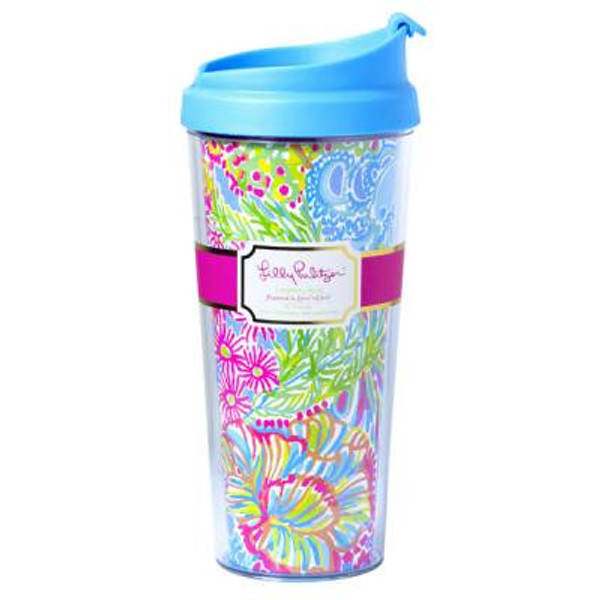 Lilly Pulitzer Lovers Coral Monogrammed Thermal Coffee Mug www.tinytulip.com