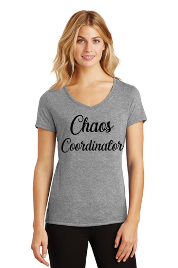Ladies V-neck Gray Graphic Tee Chaos Coordinator www.tinytulip.com