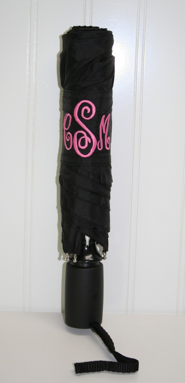 Black Umbrella with Hot Pink Abigail Monogram Monogram on Velcro Closure Strap
