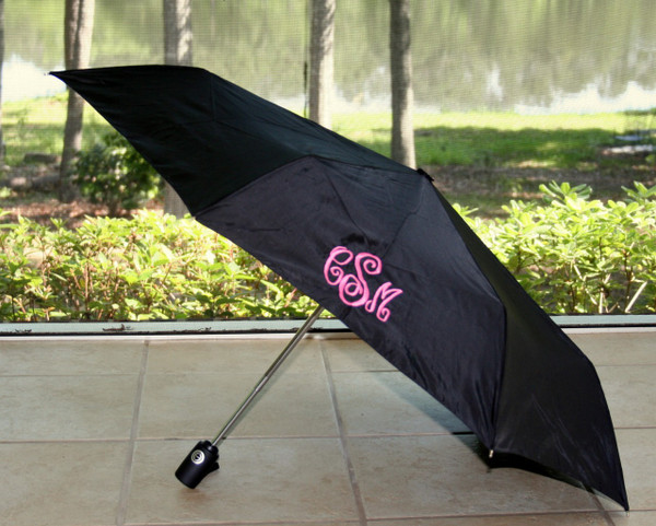 Black Umbrella with Hot Pink Abigail Monogram