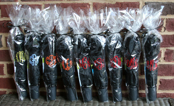 Monogrammed Umbrellas ~ Tiny Tulip Monogramming Large Order of Black Umbrellas with Empire Font
