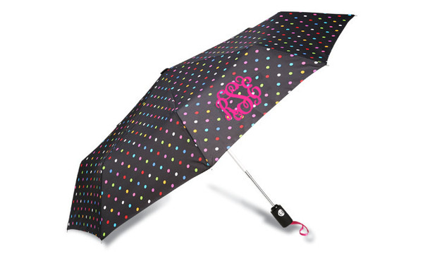 Monogrammed Umbrellas ~ Tiny Tulip Monogramming Polka Dot Umbrella Hot Pink Interlocking Font
