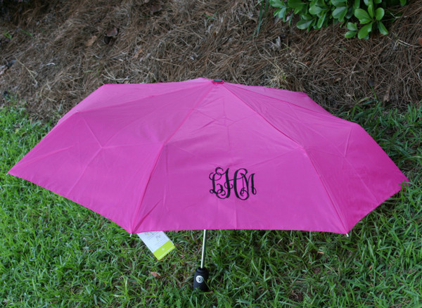 Hot Pink Umbrella with Black Interlocking Monogram