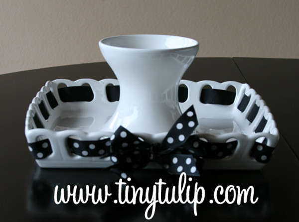 Prissy Plate Square Cake Platter ~ Chip & Dip Platter Black with White Polka Dot Ribbon