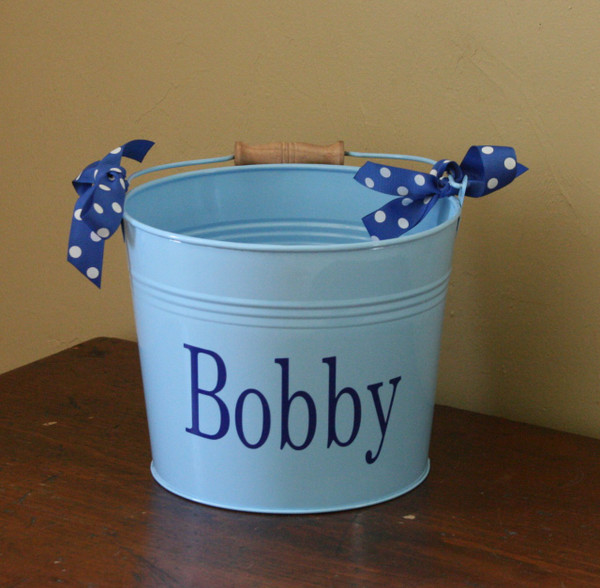 Blue Bucket with Royal Blue Romana Font