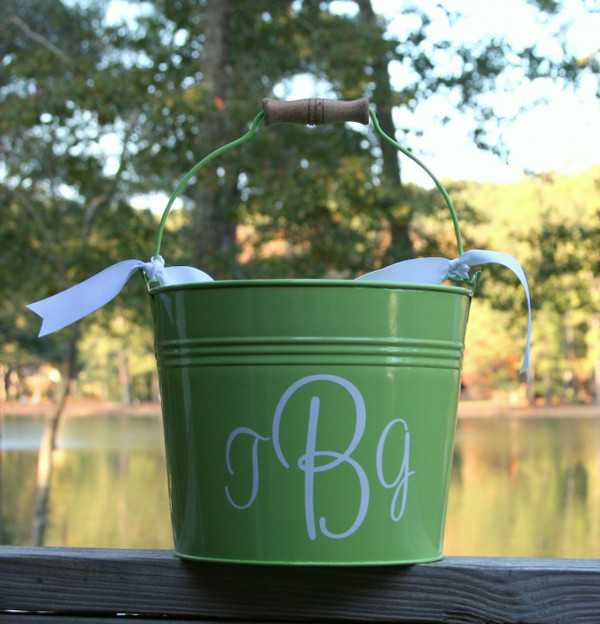 Green Bucket with White Cursive Font