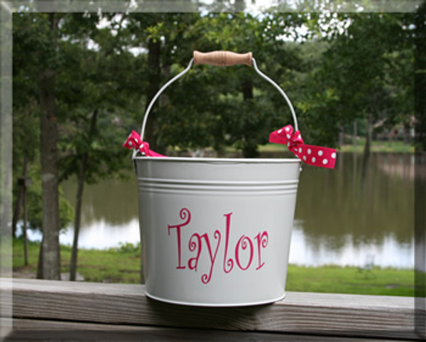 Monogrammed Galvanized Bucket