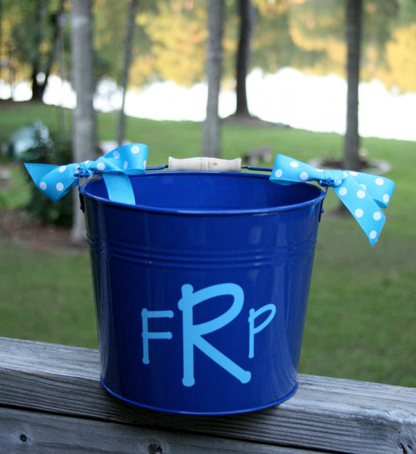 Royal Blue Bucket with Baby Blue Block Font