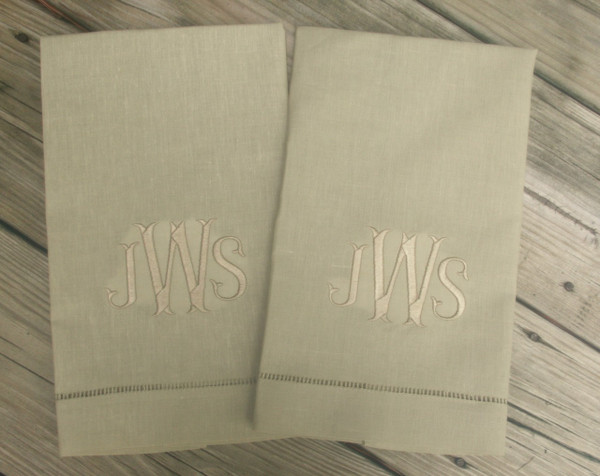 Monogrammed Linen Hemstitch Guest Towel   www.tinytulip.com Taupe Towel with Khaki Fishtail Font