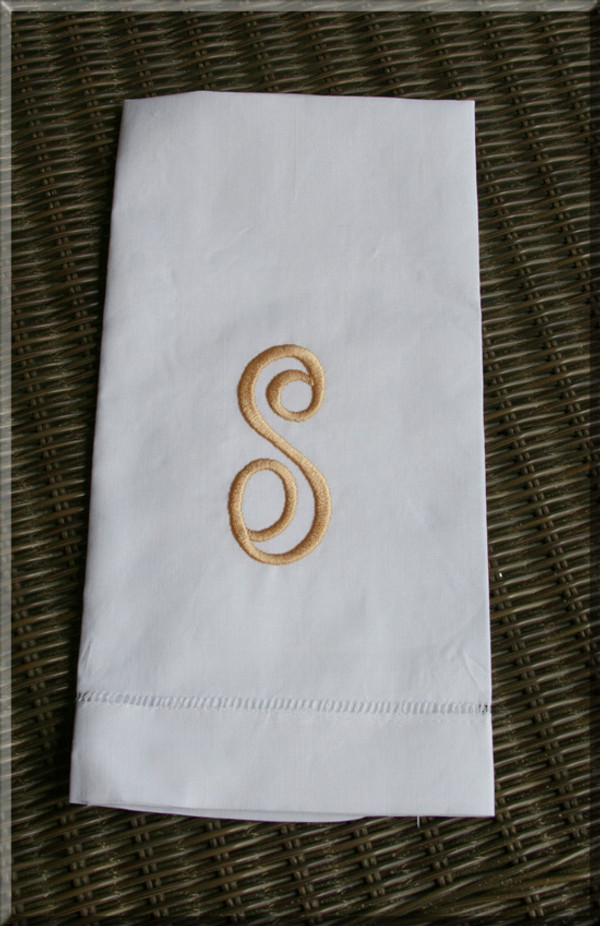 Monogrammed Linen Hemstitch Guest Towel   www.tinytulip.com White Towel with Gold Empire Font