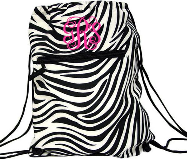 Black Zebra Drawstring Backpack - Black Trim  tinytulip.com