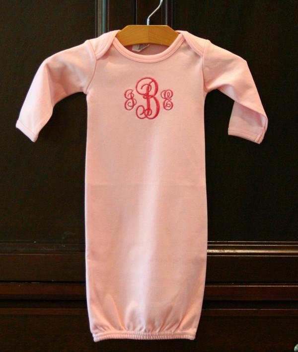 Monogrammed Cotton Interlock Baby Gown - tinytulip.com