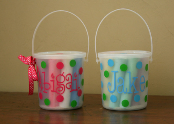 Monogrammed Chalk Buckets Hot Pink Loveletters Font with Lime Green Second Polka Dot Color Baby Blue Typewriter Font with Lime Green Second Polka Dot Color