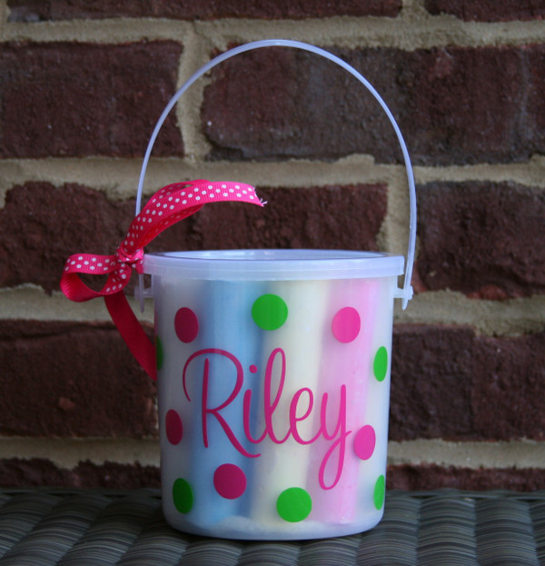 Hot Pink Cursive Font with Lime Green Second Polka Dot Color