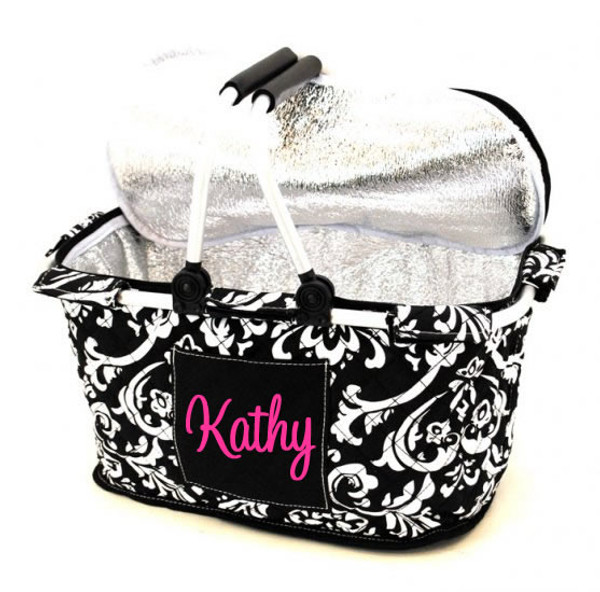 Quilted Insulated Market Basket Monogrammed Damask with Hot Pink Cursive Font