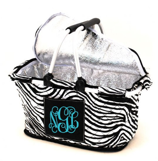 Quilted Insulated Market Basket Monogrammed Zebra Tote with Turquoise Interlocking Font