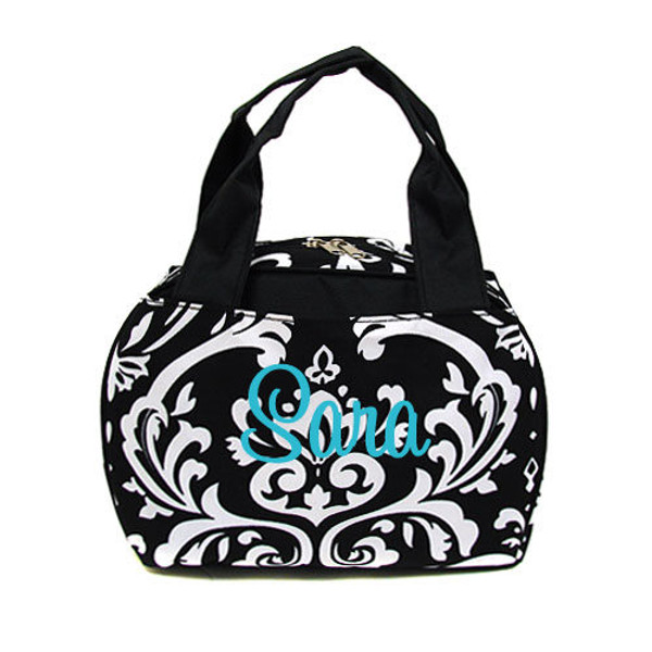 Damask Lunch Tote - www.tinytulip.com Turquoise Cursive Font